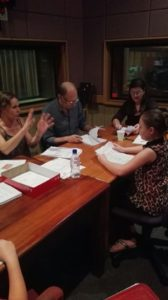 Renske Jacobs, Andre Stolz, Gretha Brazelle en Pearl Martin. Vooraf bespreking van storie en karakters.