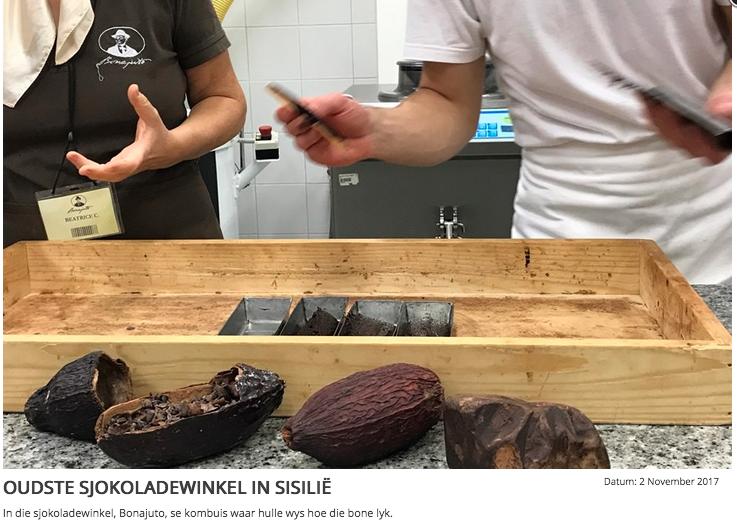 Oudste sjokoladewinkel in Sisilië gebruik geen suiker