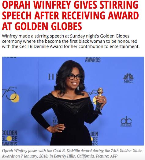Oprah lewer roerende toespraak by Golden Globes