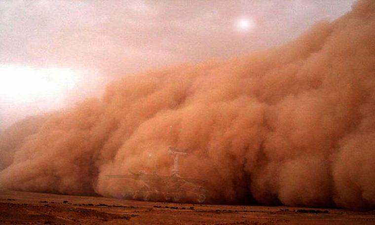 Die stofstorm op Mars van Aarde sigbaar